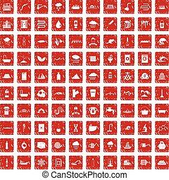 100, abastecimiento de agua, iconos, conjunto, grunge, rojo