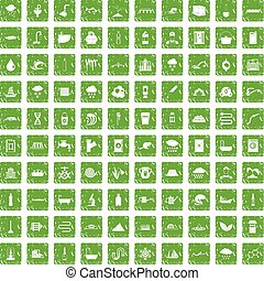 100, abastecimiento de agua, iconos, conjunto, grunge, verde
