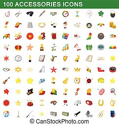 100 accessories icons set, cartoon style