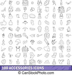 100 accessories icons set, outline style