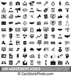 100, accord, icônes, ensemble, simple, style