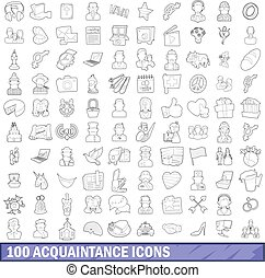 100 acquaintance icons set, outline style