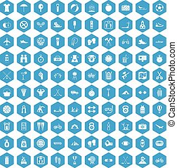 100 active life icons set blue
