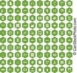100 activity icons hexagon green
