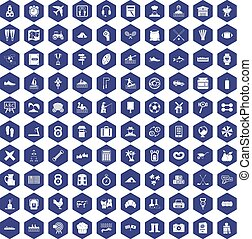 100 activity icons hexagon purple
