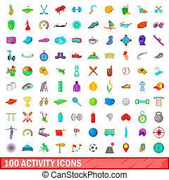 100 activity icons set, cartoon style