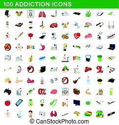 100 addiction icons set, cartoon style