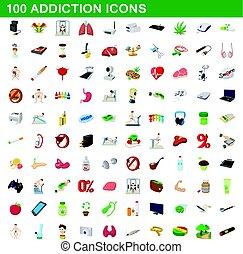 100 addiction icons set, cartoon style