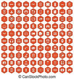 100 adjustment icons hexagon orange