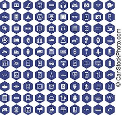 100 adjustment icons hexagon purple