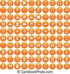 100 adjustment icons set orange