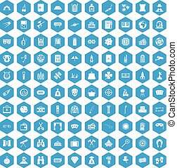 100 adult games icons set blue
