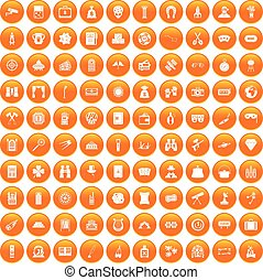 100 adult games icons set orange