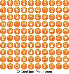 100 adult games icons set orange
