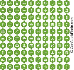 100 adventure icons hexagon green