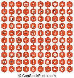 100 adventure icons hexagon orange