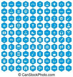 100 adventure icons set blue