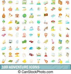 100 adventure icons set, cartoon style