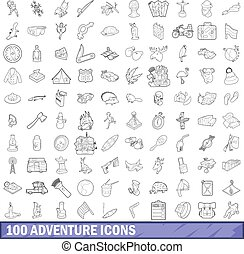 100 adventure icons set, outline style