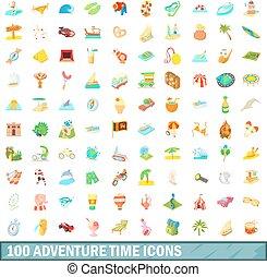 100 adventure time icons set, cartoon style
