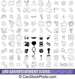 100 advertisement icons set, outline style