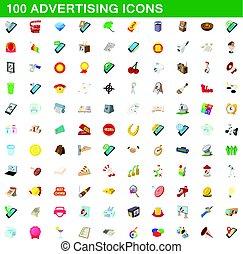 100 advertising icons set, cartoon style