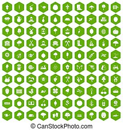 100 agriculture icons hexagon green