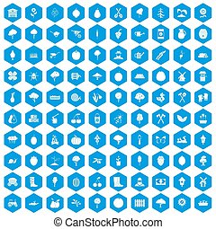 100 agriculture icons set blue