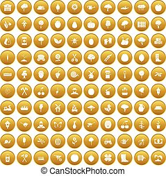 100 agriculture icons set gold