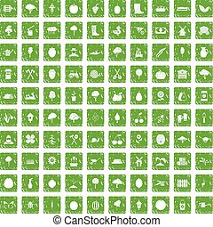 100 agriculture icons set grunge green