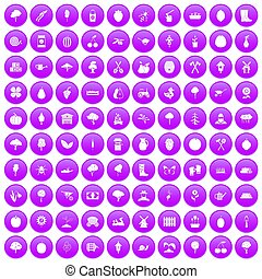 100 agriculture icons set purple