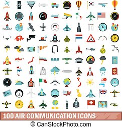 100 air communication icons set, flat style