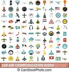 100 air communication icons set, flat style