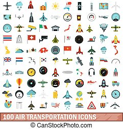 100 air transportation icons set, flat style