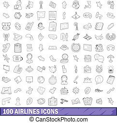 100 airlines icons set, outline style