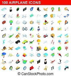 100 airplane icons set, isometric 3d style