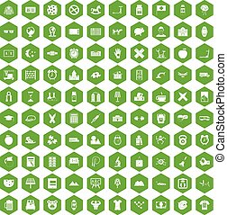 100 alarm clock icons hexagon green