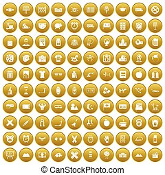 100 alarm clock icons set gold