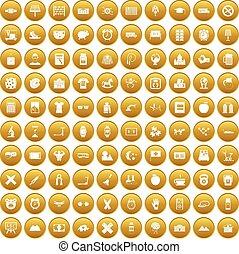 100 alarm clock icons set gold