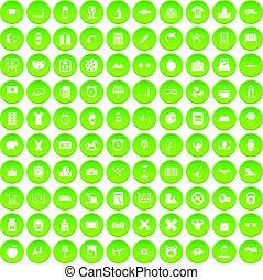 100 alarm clock icons set green circle
