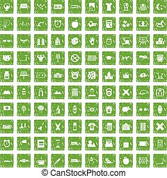 100 alarm clock icons set grunge green