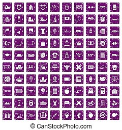 100 alarm clock icons set grunge purple