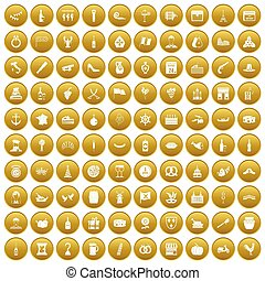 100 alcohol icons set gold
