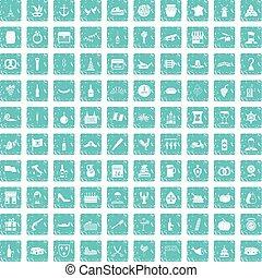 100 alcohol icons set grunge blue