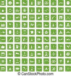 100 alcohol icons set grunge green