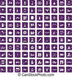 100 alcohol icons set grunge purple