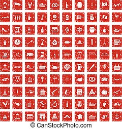 100 alcohol icons set grunge red