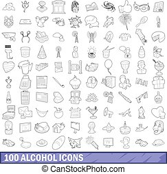 100 alcohol icons set, outline style