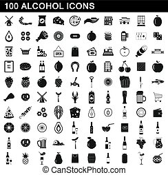 100 alcohol icons set, simple style