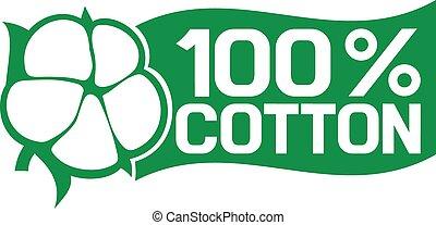 100, %, algodão, símbolo